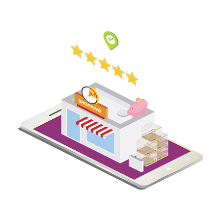 3D Isometric concept Store in smartphone.