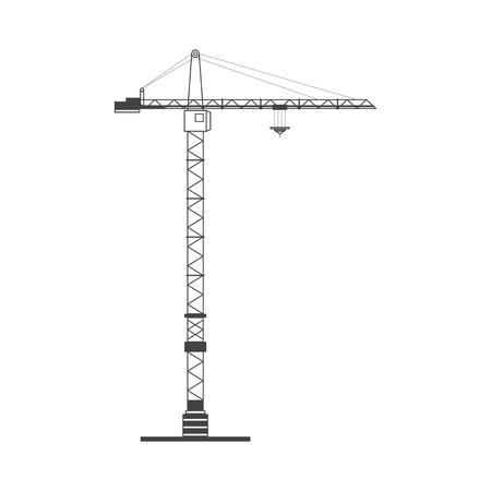 heavy: The high tower crane on a white background. Flat vector illustration EPS 10.