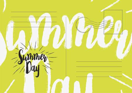 Summer day greeting card. Flat vector illustration EPS 10.