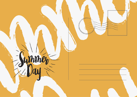 airmail stamp: Summer day greeting card. Flat vector illustration EPS 10.