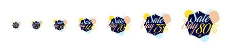 50 off: Set Color lettering for special sale offer sign. Flat vector illustration