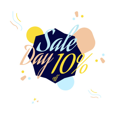 Color lettering for special sale offer sign, up to 10 percent off. Flat vector illustration
