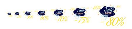75 80: Set Color lettering for special sale offer sign. Flat vector illustration