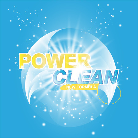 Advertising banner of detergent. Power Clean on light effect background.