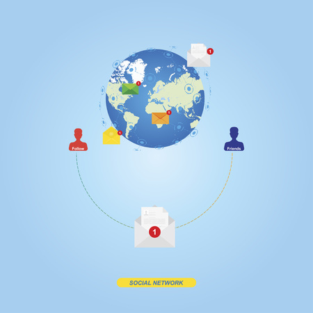 email icon: Interconnection and communication of people. A new message on the background of the globe. Flat vector illustration