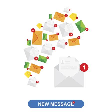 New message, notification icons. Flat vector illustration Illustration