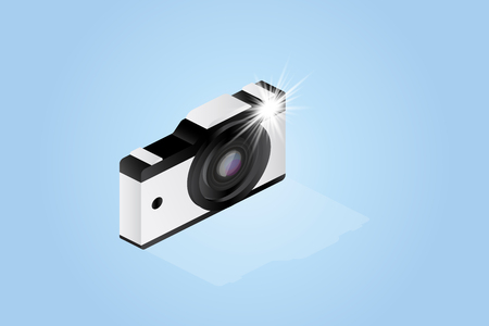 3D isometric concept. Photo camera on a white background. Vector illustration EPS 10. Illustration
