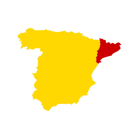 barcelona: Separation of Catalonia and Spain. Abstract map Spain and Catalonia on white background. Flat vector illustration EPS 10