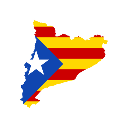 Abstract map and flag Catalonia on white background. Flat vector illustration EPS 10 Illustration