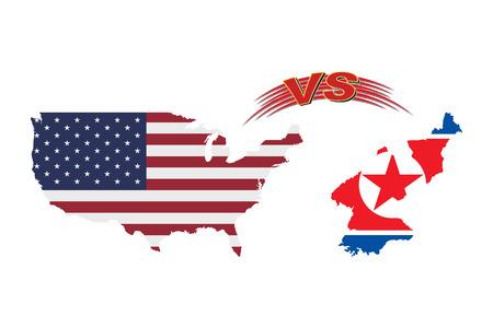 De confrontatie tussen de Verenigde Staten van Amerika en Noord-Korea. Vector Illustratie