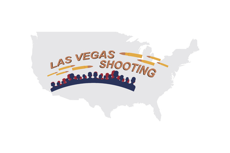 Las Vegas Shooting. Concept of terrorism and the memory of the dead. Silhouette of people and bullets on the background of a map of the USA.
