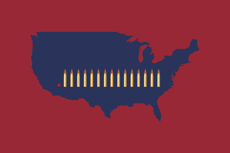 nevada: Las Vegas Shooting. Concept of terrorism and the memory of the dead. Bullets in the background of the US map.