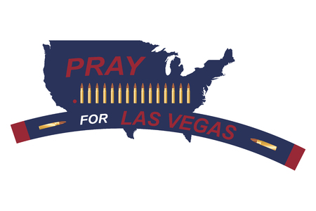 Las Vegas Shooting. Concept of terrorism and the memory of the dead. Bullets in the background of the US map.