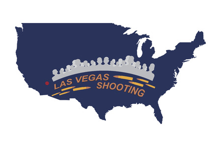 nevada: Las Vegas Shooting. Concept of terrorism and the memory of the dead. Silhouette of people and bullets on the background of a map of the USA.
