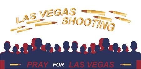 Las Vegas Shooting. Concept of terrorism and the memory of the dead. Silhouette of people with bullets over their heads