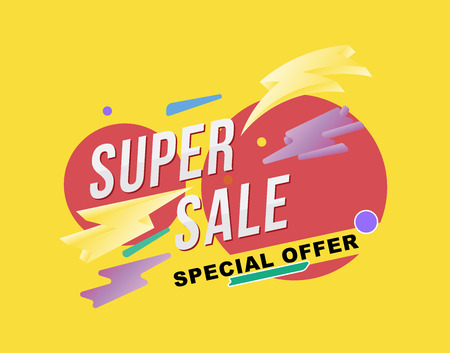 Super sale poster and flyer. Template for design poster, flyer and banner on yellow background. Flat vector illustration EPS 10.