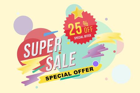 Super verkoop 25 procent korting poster en flyer. Sjabloon voor ontwerp poster, flyer en banner op kleur achtergrond. Platte vector illustratie eps 10. Stock Illustratie