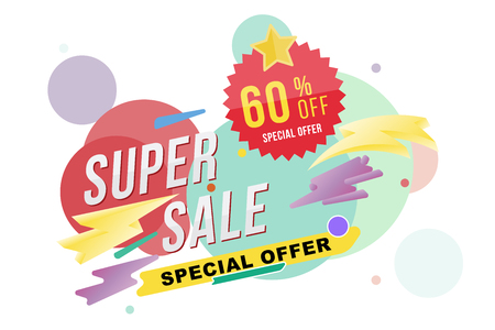 percentage: Super sale 60 percent discount poster and flyer. Template for design poster, flyer and banner on colour background. Flat vector illustration EPS 10.