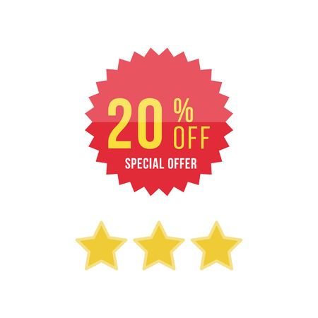 Red sticker and star with 20 discount.
