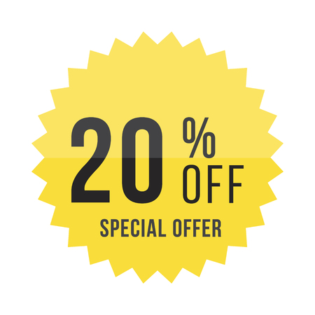 Yellow sticker with 20 discount. Illustration