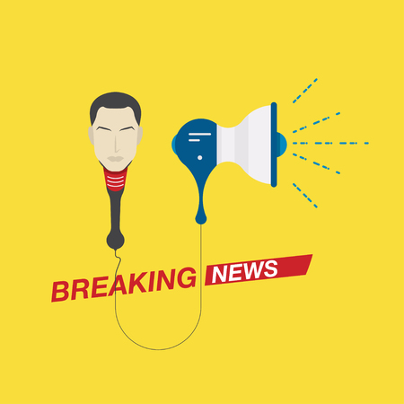 Microphone and loudspeaker with a leading person for breaking news. Screensaver for TV and Internet channels. Flat vector illustration EPS10.