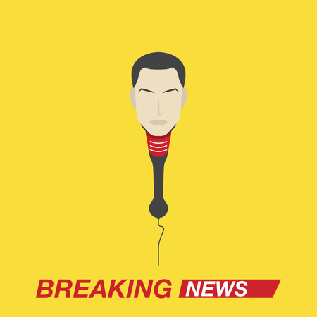 Microphone with a leading person for breaking news. Screensaver for TV and Internet channels. Flat vector illustration EPS10. Illustration