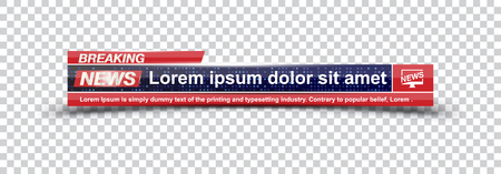 Template title Breaking News on transparent backdrop for screen TV channel. Flat vector illustration EPS10.