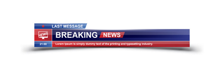 Breaking News template title on white background for screen TV channel. Flat vector illustration EPS10.