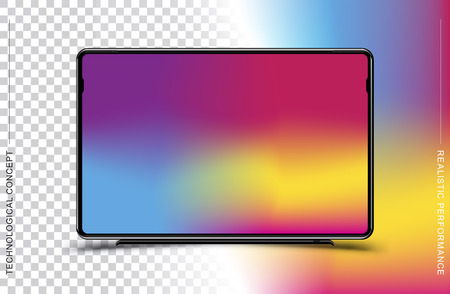 Template realistic black TV monitor on a colour and transparent background. Flat vector illustration EPS 10.  イラスト・ベクター素材