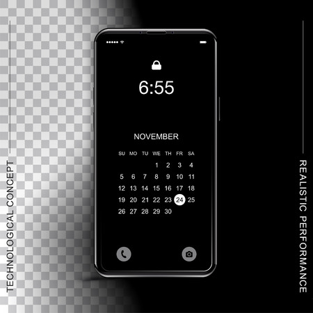 Template realistic black smartphone with a screen lock on a dark and transparent background. Phone with set of web icons and calendar. Flat vector illustration EPS 10.