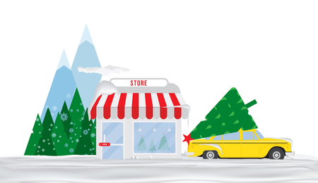 Shop for sale of Christmas trees. Taxi in the snow is parked in front of the store in the background of mountains and trees. Flat vector illustration EPS10.