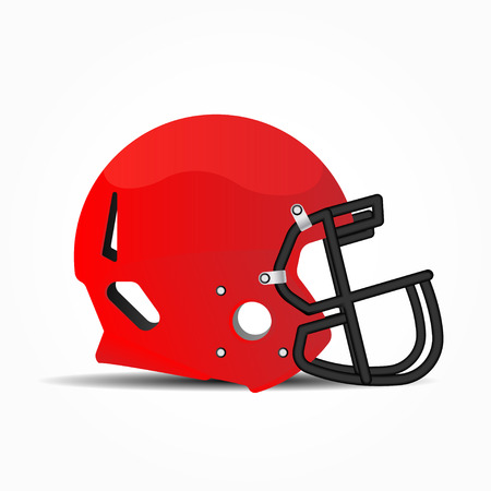 Sports helmet for American football. Red and Black Mask to protect the face in the game.