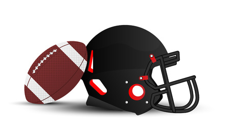 American football helmet and ball on white background. Flat vector illustration EPS 10. Ilustração