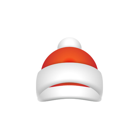Christmas and New Year red Hat for Santa Claus. Hat Isolated on white Background. Illustration