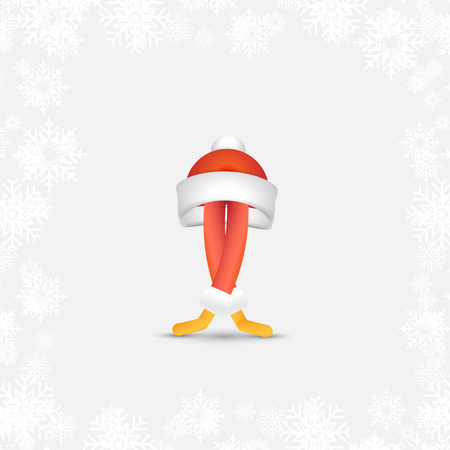 Festive Santa Ballet dancer. Abstract cartoon character for Christmas and new year in a red hat.