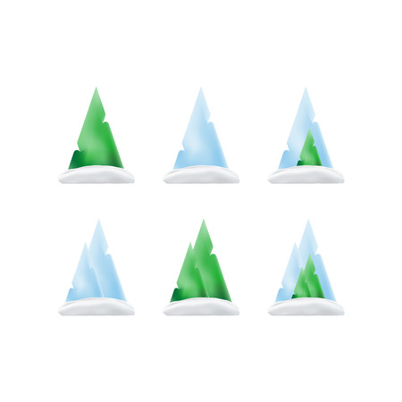Set of green trees and mountains in the snow in a gradient for christmas and new year. Vector elements isolated on white background.