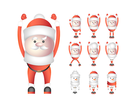 Set of santa clauses and snowmen isolated on white background. Vector cartoon characters for Christmas and New Year.