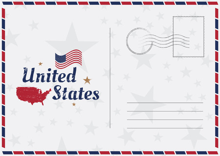 USA Vector vintage Postcard with american flag and map. Template for your design cards. Stock Illustratie