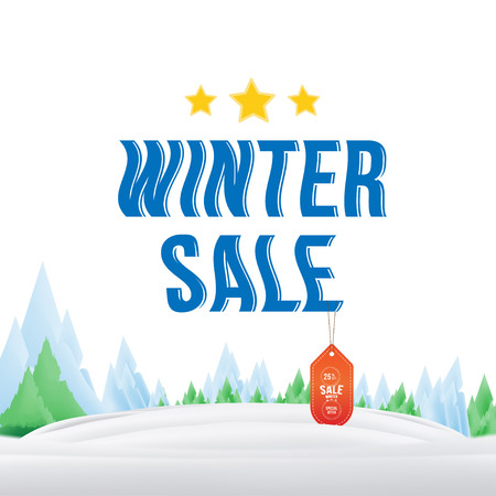 Winter sale tag with label on the nature background. Vector element for Merry Christmas and Happy New Year