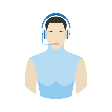 User with headphone for call center. Customer service flat vector illustration EPS 10. Illustration