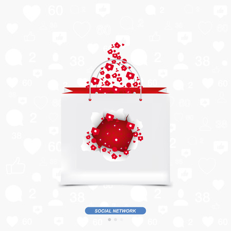 Concept for social networks. Icons of notifications with comments, likes and new friends fly through the torn paper in a gift bag.