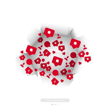 Concept for social networks. Icons of notifications with comments, likes and new friends fly through the torn paper.