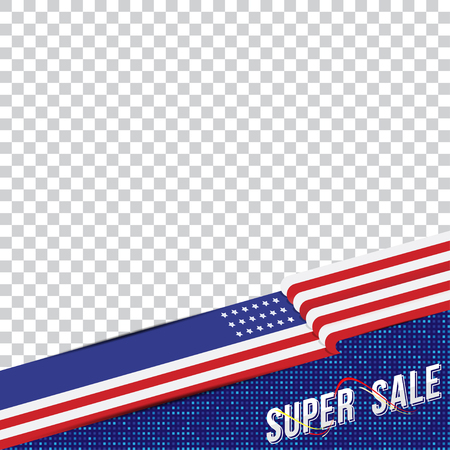 Happy Presidents Day of USA. Template banner design element with text and US flag. Illustration