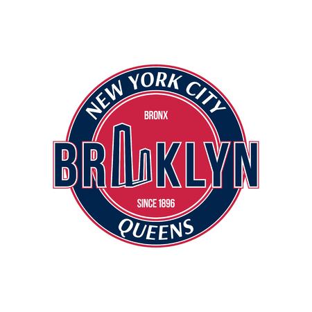 Retro emblem city of New York and the Brooklyn Bridge.