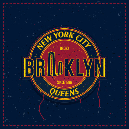 Vintage retro emblem with an old-style texture as a patch for clothes. The city of New York and the Brooklyn bridge.