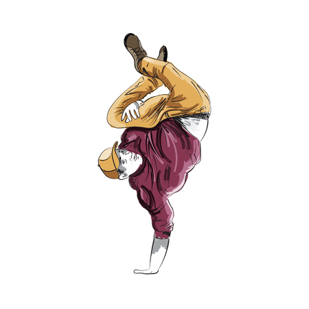 Young Boy Breakdancer makes a freeze on one hand. The concept for B-Boys and Break Dance. Illustration