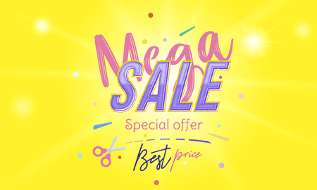 Mega Sale Banner with font combination on the colour background with blur and light effects.