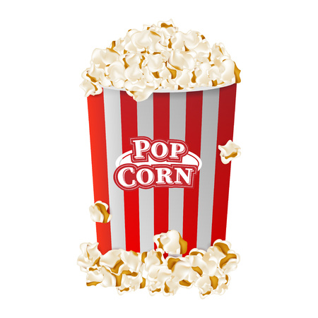 Popcorn in striped bucket box isolated on white background. Flat vector illustration EPS 10. Illustration