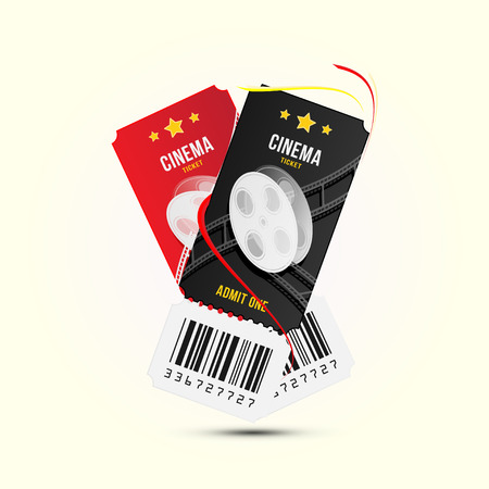 Two cinema ticket realistic isolated on white background with shadow. Flat vector illustration EPS 10.