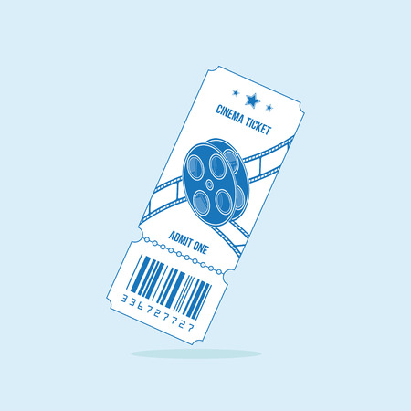 Cinema ticket with blue lines isolated on light background. Flat vector illustration.